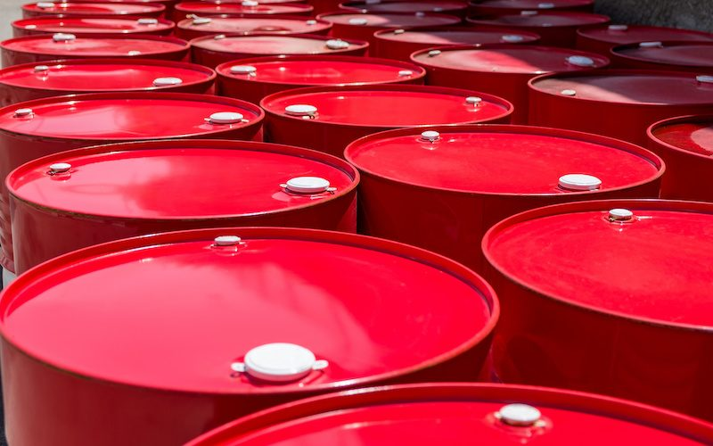 Red barrels with oil.